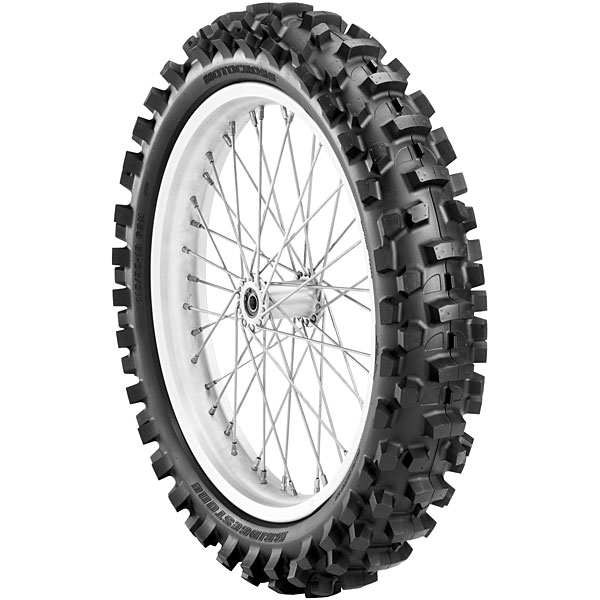 Bridgestone, M102, Rear Tyre, 110/90-19 62M NHS, Trail wing On / Off road Matching front and rear combination designed for deep sand and bottomless mud Rear tire paddle-like pattern for traction in e