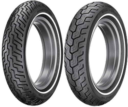 Dunlop, D402_Harley_Davidson_SW, Front Tyre, MT90 B16 72H SW, D402F Harley Davidson SW Slim White Wall The D402 is the approved Harley-Davidson touring slim white wall tire. Built with a three-ply po