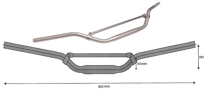 Extra large Off-Road braced handlebar Matt Silver